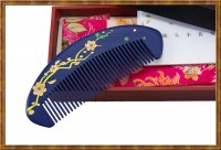 Gift Set-Comb Boxwood Lacquer Blooming Flower
