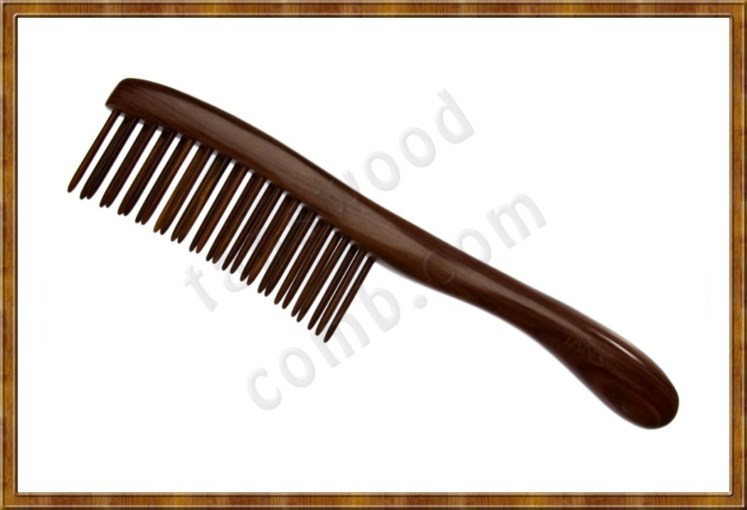 Detangling Comb-Two Rows Rosewood Teeth Insert 0103 - Click Image to Close
